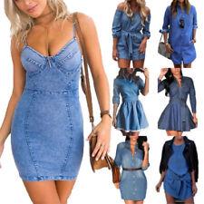 UK Womens Summer Denim Jeans Dress Long Sleeve Belted Casual Blouse Shirt Dress