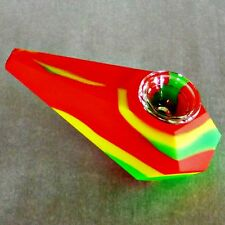 "Diamond Silicone 4"" Pipe Glass Bowl Smoking Red Yellow & Green RASTA"