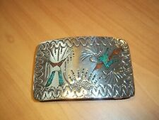 Vintage Native American Style Western Belt Buckle Inlaid with Turquoise & Coral