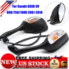 2x Black Side Mirrors Clear Turn Signals For Suzuki GSXR 600 750 1000 2001-2016