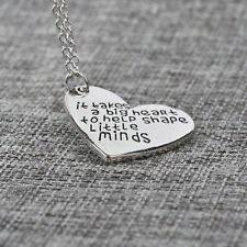 Family Love Heart Pendants Teachers Necklace Gifts Silver Long Chain Jewelry