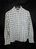 Outback Trading M White Blue Pink Plaid Shirt Western Snap Long Sleeve Woman md