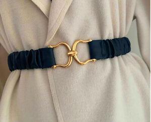 Ladies Women Gold X Buckle Wide Faux Leather Elastic Adjustable Waist Belt UK