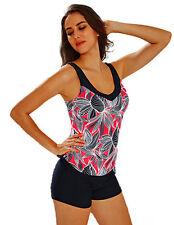 Maillot de bain femme - bikini Tankini Shorty - Noir / rouge corail -  T. 52