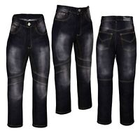 Denim Motorcycle Motorbike Trousers Jeans with Protective Lining Pants Black Men