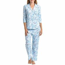 Karen Neuburger Womens M 3/4 Sleeve Button Up Pant Pajama Set Tossed Butterfly