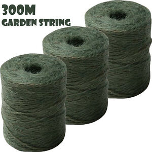 3x100M Garden String Jute Twine Green Maxi Parcel Gardening 3 Rope Ball Line S30