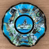 "Vintage 70's Walt Disney World Magic Kingdom 7"" Ruffled Glass Plate Dish Ashtray"