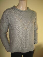 New Look ~ Grey Soft Acrylic Chunky Cable Knit Jumper ~ Size S 10 - 12