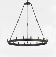 "Wrought Iron Vintage Barn Metal Camino One Tier Chandelier 38"" H 40"""