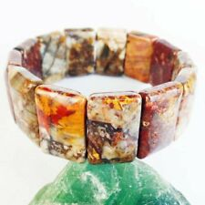 Natural Red Yellow Pietersite Oblong Pendant Stretchy Bracelet 7.5 Inch F75104