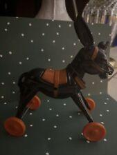 Vintage Halloween Rosbro Rosen Plastic Donkey on Wheels Pumpkin Providence Ri