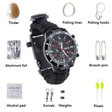 Hot Outdoor Survival Watch with Compass Flint Fire Starter Thermometer Paracord