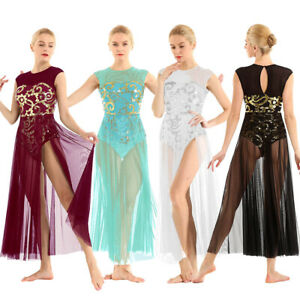 Women Floral Sequin Lyrical Ballet Contemporary Leotard Maxi Dance Dress Costume