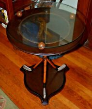 BUTLER NINETEENTH HOLE ROUND GOLF ACCENT TABLEW/ GLASS TOP- REATIL $999