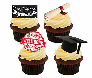 Graduation Well Done - Edible Cupcake Toppers, Fairy Decorations Congratulations
