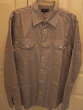 Michael Kors Men's L Dress Shirt Long Sleeve Blue / White Check Pockets