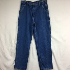 Carhartt Blue Denim Carpenter Mens Jeans 36x34 Additional Pockets Hammer Loop