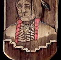 Antique Carved Natural Wood Native American Relief Portrait SignedLrg Folk Art