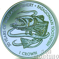 2017 PATAGONIAN TOOTHFISH - Blue/Green TITANIUM Coin in BOX+COA Falkland Islands