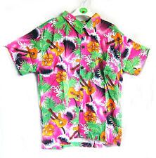 """Boy's loud Hawaiian shirt, for 14 year old, 40"""" chest, PINK GUITARS Hibiscus new"""