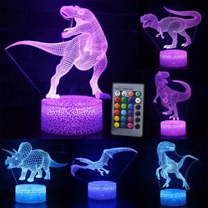UK 3D Dinosaur LED Night Lights 7/16 Colors Table Desk Lamp Kids Children Gift