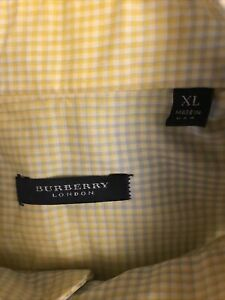 Burberry London Mens XL Long Sleeve Shirt Made In USA 100% Cotton Yellow Plaid