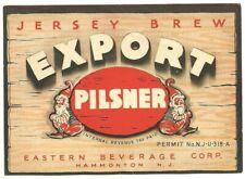 Jersey Brew Export Pilsner Beer Label, IRTP, U-Permit, Eastern, Hammonton, NJ