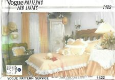 Vogue Sewing Pattern 1422 Bedspread Ruffle Tablecloth Bolster Shams Curtains