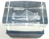 San Francisco Golden Gate Bridge Paperweight Hologram 3D Glass 3.25 Inch CA