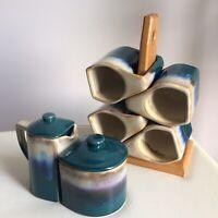 Rodolfo Padilla Stoneware Mugs Tree Stand, Lidded Sugar, Creamer Vintage Set EUC