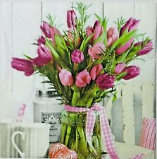 TULIPS BOUQUET FLORAL 2 single LUNCH SIZE paper napkins for decoupage 3-ply