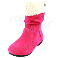 New girl's kids pull up boots winter warm comfort fuchsia hot pink casual