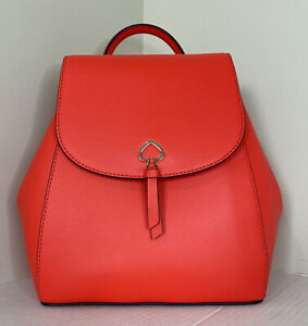 New Kate Spade New York Adel Medium Flap Backpack Leather Geranium