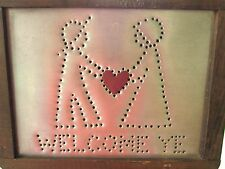 Wood Framed Punched Metal Welcome Ye Sign Plaque Antique Dutch Colonial Style