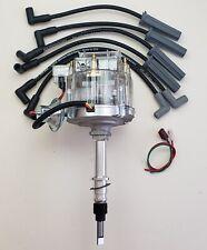 AMC JEEP 258 232 INLINE 6 CLEAR HEI DISTRIBUTOR + 8.5mm BLACK SPARK PLUG WIRES