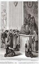 Roma: Basilica di San Pietro: Bacio del Piede. Audot.Acciaio. Stampa Antica.1836