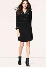 Ann Taylor LOFT Piped Black Shirt Dress, Size M / AU Size 12