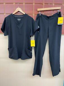 NEW WonderWink 123 Black Solid Scrubs Set With Large Top & Large Pants NWT