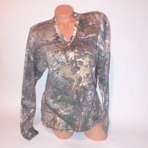 Field & Stream Real Tree Camouflage Women T Shirt Long Sleeve Green Camo