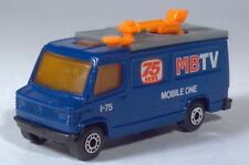 "1989 Matchbox TV News Truck Van 3"" 1:73 Mobile One Blue Mercedes Fourgon"