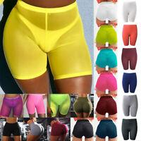 Womens Sports Yoga Skinny Shorts Joggers Gym Hot Pants Mesh Transparent Bottoms