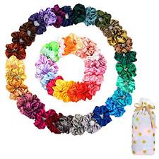 50 PCS Satin Hair Scrunchies Curly Silk Satin Hair Accessories Girls Ropes Teens