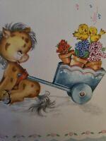 Vtg Birthday Greeting Card Sweet Donkey Cart Singing Birds FORGET-ME-NOT 1940s
