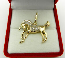 14K Solid Yellow Gold Unicorn 2D Pendant Horse Charm 4.2 grams - Highly Detailed