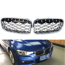 Pair of Front Chrome Grill Grille Diamond Fit BMW 3 Series F30 Sedan 2013-2018