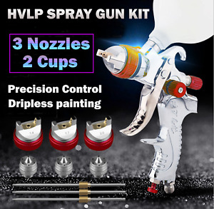Spray Gun Paint Gun Gravity Feed HVLP 3 Nozzle 1.4mm 1.7mm 2mm Tips Included