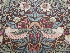 William Morris Curtain Fabric 'Strawberry Thief' 3.75 METRES Chocolate/Slate