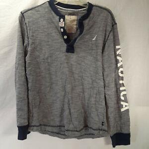 Nautica Boys Blue and Grey Striped L/S Shirt Size L (14/16)