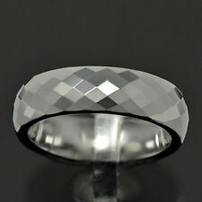 6mm Diamond Faceted Shiny Tungsten Carbide Band Jewelry Women's Wedding Ring TR
